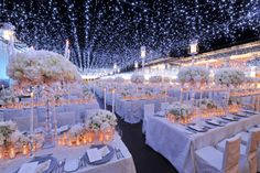 starry night theme reception inspiration: hanging white string lights on ceiling