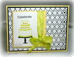 Julie Masse celebrates in STYLE with this super chic card design in trendy bold colors. Check out the quatrafoil background expertly stamped using the Borders and Sentiments set!