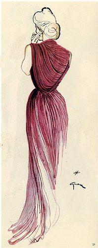 Illustration Vintage - Femme de dos en robe de soirée plissé - Gruau