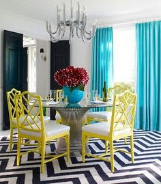 Turquoise and Yellow accents.