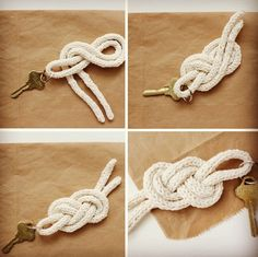 actually learned how to do this yesterday at Anthro. Super cool and cute Rope Crafts, Easy Crafts, Diy And Crafts, Easy Diy, Diy Keychain, Keychains, Heart Template, Macrame Knots, Knitting Accessories