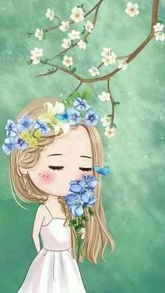 Cute Girl Wallpaper, Cute Disney Wallpaper, Cute Wallpaper Backgrounds, Cute Cartoon Wallpapers, Cute Cartoon Girl, Cute Love Cartoons, Cartoon Art, Whimsical Art, Cute Illustration