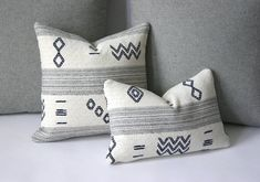 Woven Indigo Cream & Grey Accent Pillows / Grey Pillows For Couch / Accent Pillow Covers Grey Pillow Covers, Grey Pillows, Lumbar Throw Pillow, Throw Pillow Cases, Living Room Green, My Living Room, Ski Lodge Decor, Living Room Pillows, Pillow Room