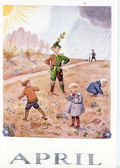 Elsa Beskow (née Maartman) February Stockholm – 30 June was a Swedish author and illustrator of children's books Elsa Beskow, Images Vintage, Vintage Postcards, Vintage Art, Vintage Roses, Vintage Calendar, Foto Transfer, Months In A Year, 12 Months