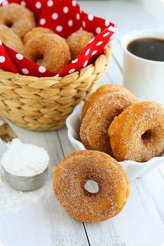 Baked Cinnamon Sugar Doughnuts  Makes about 1 1/2 dozen doughnuts  Printable Recipe     Ingredients  1 1/3 cups warm milk, 95 to 105 degrees  2 teaspoons instant yeast  2/3 cup granulated sugar  2 tablespoons softened butter  2 large eggs  5 cups all-purpose flour  A pinch or two of nutmeg, freshly grated  1 teaspoon salt  1/2 cup butter, melted  1 1/2 cups granulated sugar  1 tablespoon cinnamon