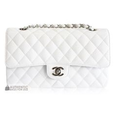CHANEL - Chanel Classic 2.55 Medium Bag In White Caviar - Authentic... ❤ liked on Polyvore featuring bags, handbags, clutches, purses, chanel, borse, chanel pochette, hand bags, man bag and white purse