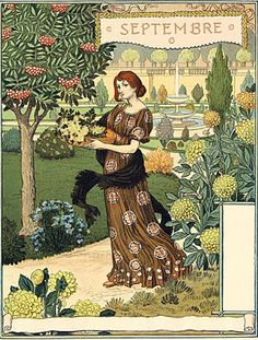 Eugene Grasset (French, 1841-1917)  Plates for the months July, August, September, October, November, and December from Calendar La Belle Jardiniere, 1896