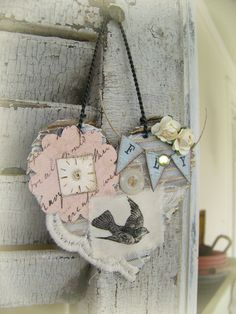Vintage  Bird Art Bird Ornament Altered Collage Vintage Mixed Media Cottage Style Heart Wall Hanging Antique Paper Heart. via Etsy.