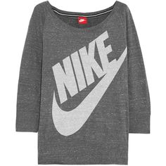 Nike Gym Vintage cotton-blend jersey sweatshirt, Dark Gray, Women's,... (75 BRL) ❤ liked on Polyvore featuring tops, hoodies, sweatshirts, loose tops, nike top, retro sweatshirts, vintage slip and cut loose tops