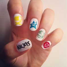 kobra kid, fun ghoul, party poison, jet star, my chemical romanc. Halloween Nail Designs, Cool Nail Designs, Halloween Nails, My Chemical Romance, Emo Nail Art, Hair And Nails, My Nails, Rock Nails, Cute Nails
