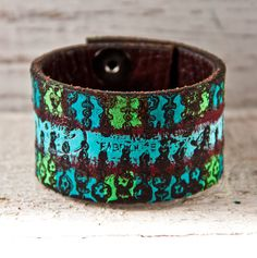 Gifts for Her Leather Cuff Valentines Day by rainwheel on Etsy, $35.00 #handmade #vintage #etsy