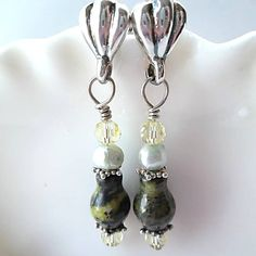 Gemstone Earrings/Yellow Turquoise by DarlenesGlassGarden on Etsy, $23.00