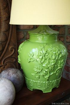"""sprayed with Rustoleum enamel in the color """"Fern"""". Love this color! sprayed with Rustoleum enamel in the color """"Fern"""". Love this color! Green Spray Paint, Spray Paint Colors, Color Spray, Home Decor Furniture, Painted Furniture, Painting Plastic Chairs, Redo End Tables, Lamp Redo, Rustoleum Paint"""
