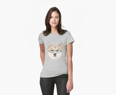 Shiba Inu with oversized round glasses women's tee by NamiBear on RedBubble. This is a watercolor drawing of a shiba inu with glasses with round frame. • Also buy this artwork on laptop covers, apparel, kids clothes, and more.