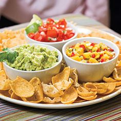 40 Party Appetizer Recipes | Southwestern Dips .The sweet heat of Mango Salsa, creamy Guacamole, and zesty Pico de Gallo create a flavorsome dipping trio.  SouthernLiving.com