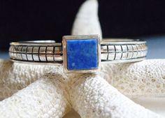 Sterling Silver 925 Blue Lapis Stone Abstract Design Cuff Wrap Bracelet 23.8 gr #su #Cuff