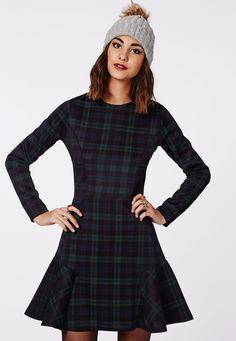 Micah Long Sleeve Flippy Skater Dress Navy Check - Dresses - Skater Dresses - Missguided