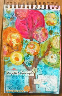 Layers. Use less desirable pattern paper  with color Art Journal  http://blog.studioshirel.com/Belles couleurs !