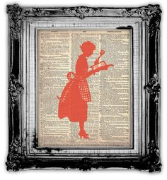 DINAHS KITCHEN  DICTIONARY Art Print Antique Upcycled Vintage Dictionary Book Page Art Print Dinah's In The Kitchen