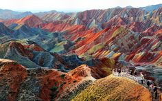 Kolorowe, Góry, Zhangye Danxia, Chiny