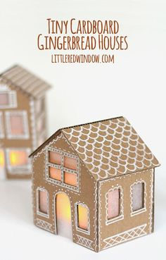 Tiny Cardboard Gingerbread Houses - Little Red Window - - Make your own adorable Tiny cardboard Gingerbread Houses from recycled materials! They're so charming and easy to make! Easy Gingerbread House, Cardboard Gingerbread House, Gingerbread House Patterns, Gingerbread Cookies, Christmas Projects, Kids Christmas, Holiday Crafts, Italian Christmas, Homemade Christmas