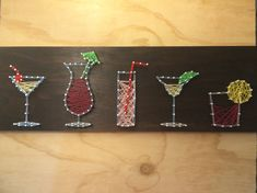 Colourful Drinks / Cocktails String Art Board