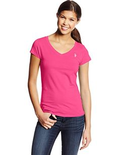 U.S. Polo Assn. Junior's Short Sleeve V-Neck T-Shirt, Pink Paradise, Medium - Brought to you by Avarsha.com