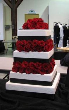 black  white wedding cake with red