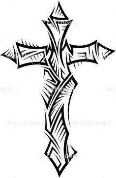 Tribal Cross Tattoo with Spikes ❥❥❥ https://tattoosk.com/tribal-cross-tattoo#123