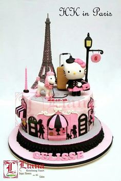 Hello Kitty in Paris Cake - For all your cake decorating supplies, please visit craftcompany.co.uk