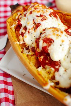 Spaghetti Squash and Meatballs - like the idea of serving it right in the squash!
