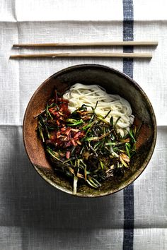 scallion noodles with bacon