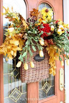 pretty fall door decor by joanne