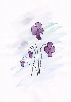 Violets illustration. Original floral art. Watercolor and by siret