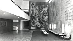 Furniture design by Frank Kyle, see Chairs Willow 102UP and Tables.  Interior design and decoration of the living room by Frank Kyle see Lamps, Rug. Interior view, Jalisco Experimental Theatre (Teatro de la Universidad de Guadalajara), Calzada Independencia Sur, La Aurora, Guadalajara, Jalisco, Mexico 1960 Mural 'Allegory of the Theater of Mexico' by Gabriel Flores.  Arq. Erich Coufal Source: rediala.org Una Vida Moderna : Photo