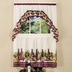Chardonnay 3-pc. Swag Tier Kitchen Curtain Set, Red