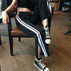 itGirl Shop SPORTISH ANKLE CUT GRUNGE BLACK AESTHETIC ELASTIC PANTS Aesthetic Apparel, Tumblr Clothes, Soft Grunge, Pastel goth, Harajuku fashion. Korean and Japan Style looks