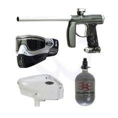 Empire Axe Paintball Gun Silver + Halo Too Hopper + Empire E-Flex + 68ci Tank. For Sale at UltimatePaintball.com