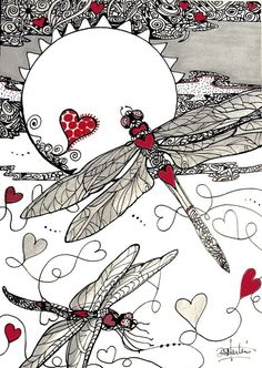 DRAGON HEARTS SPeciALTY hearts Dragonflys Original paper 5x7 zentangle by Diana…