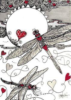 DRAGON HEARTS  SPeciALTY hearts Dragonflys Original paper 5x7 zentangle