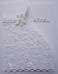 Lovely card for a bridal shower or little girl card. She used a Cricut, but it could easily be free-handed.
