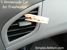Clothes Pin Air Freshener This is super easy and works whether you have the air on, off, hot or cold. What You Need:     Small Clothes Pin     Essential Oils of choice  Directions:     Place 5-10 drops of essential oils on the clothes pin.     Clip onto the air vent in your vehicle.