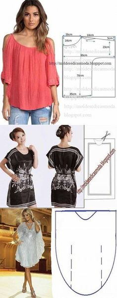 Discover thousands of images about Modelo simple del verano ropa de mujer Sewing Dress, Diy Dress, Sewing Clothes, Blouse Dress, Barbie Clothes, Diy Clothing, Clothing Patterns, Dress Patterns, Sewing Patterns