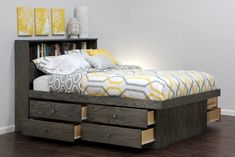modern queen size bed with headboard bookshelf and side storage drawers