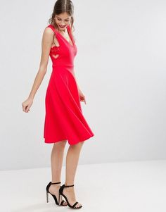 ASOS Full Midi Dress with Lace Side Panel Detail