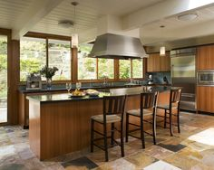 Kitchen Island With Stove Hood Design, Pictures, Remodel, Decor and Ideas - page 5 Slate Flooring, Kitchen Flooring, Flooring Ideas, Slate Tiles, Giada De Laurentiis, Browning, Beautiful Kitchens, Cool Kitchens, Open Kitchens