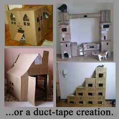 Some Outstanding DIY Cat Condo Ideas For Cooler Results Cat Room - - jpeg Cardboard Cat House, Cardboard Castle, Diy Cardboard, Diy Cat Tower, Cat Tree Plans, Cat Castle, Cat House Diy, Cat Towers, Cat Playground