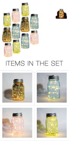 """""""Mason Jar Earth Day Fairy Lights"""" by paperlanternstore on Polyvore featuring art"""