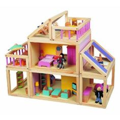Maxim Designed by You Dollhouse. Furnished Wooden Modular Doll House, Furniture & Doll People in Dollhouses.