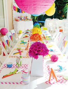 Make colorful pom poms for table centerpieces and to hang from ceiling  -also, crepe paper from back of the chairs draped